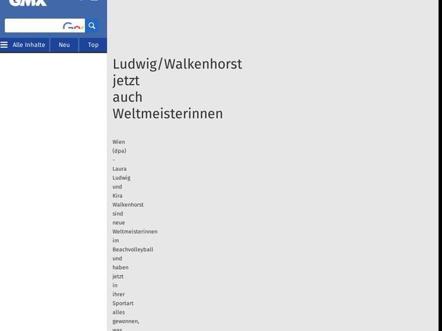 Ludwig/Walkenhorst jetzt auch Weltmeisterinnen
