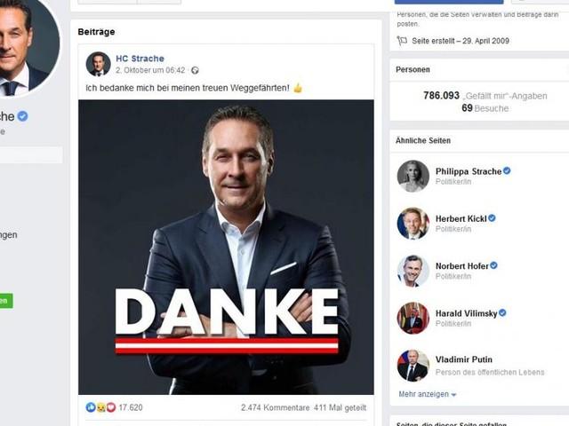 FPÖ legt Straches Facebook-Seite mit 800.000 Fans still