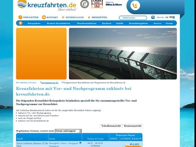 Gruppenreisen Kreuzfahrten mit Flug buchen bei Kreuzfahrten.de