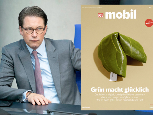 """The Pioneer: Andreas Scheuer wirft """"DB Mobil"""" Wahlwerbung für die Grünen vor."""
