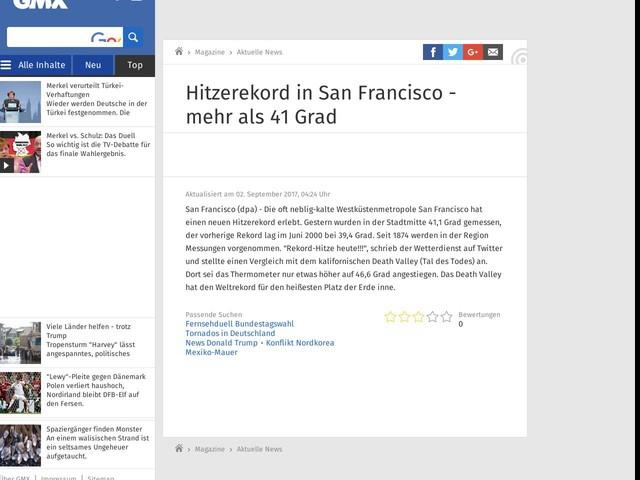 Hitzerekord in San Francisco - mehr als 41 Grad