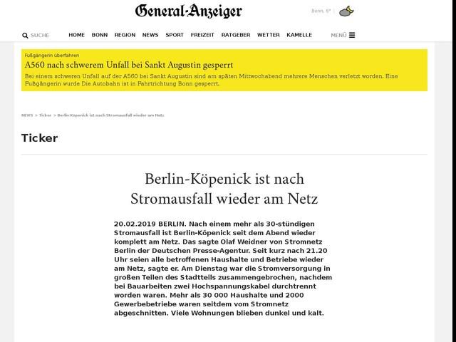 Berlin Köpenick Ist Nach Stromausfall Wieder Am Netz Anderes
