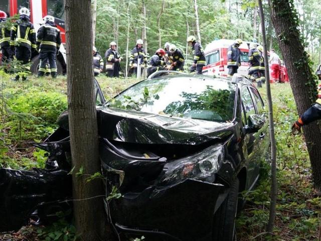 Frontal gegen Baum: Zwei Verletzte bei Unfall im Bezirk Neunkirchen
