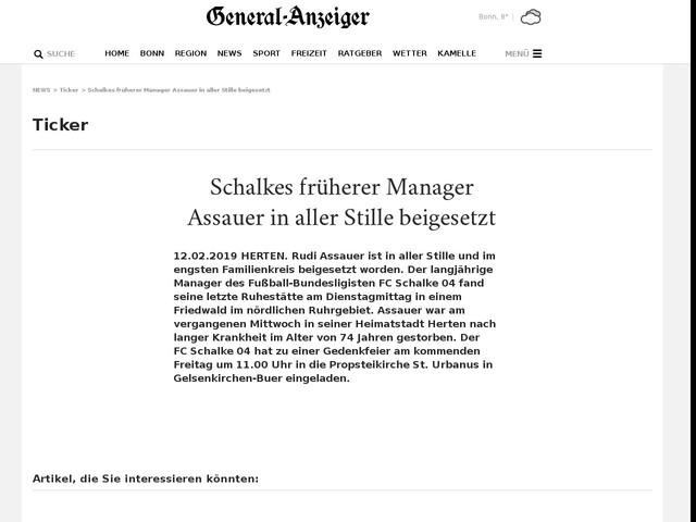 Schalkes früherer Manager Assauer in aller Stille beigesetzt
