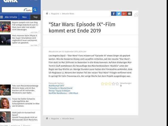 """""""Star Wars: Episode IX""""-Film kommt erst Ende 2019"""