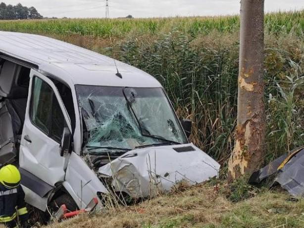 Unfälle: Kleintransporter prallt gegen Baum: Drei Schwerverletzte