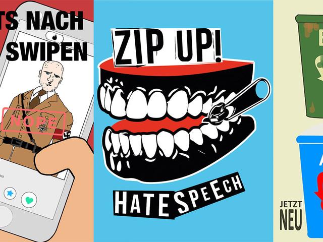 """Die 10 Gewinner des """"Sticker gegen rechts"""" Wettbewerb (kostenlos bestellen)"""
