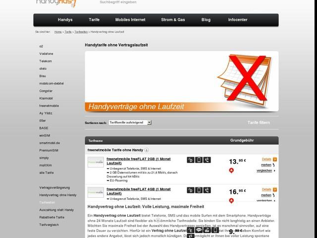 Handytarife ohne fester Vertragslaufzeit | handyflash.de