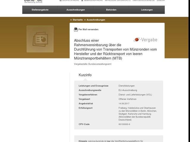 Abschluss einer Rahmenvereinbarung über die Durchführung von Transporten von Münzronden vom Hersteller und der Rücktransport von leeren Münztransportbehältern (MTB)