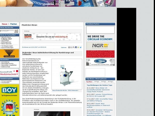Brabender: Neue Aufwickelvorrichtung für Rundstränge und Schläuche