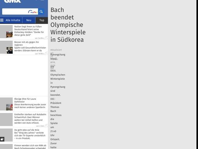 Bach beendet Olympische Winterspiele inSüdkorea