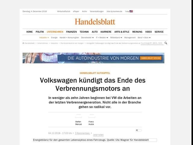 Handelsblatt Autogipfel: Volkswagen kündigt das Ende des Verbrennungsmotors an