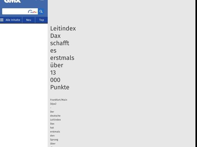 Leitindex Dax schafft es erstmals über 13 000 Punkte