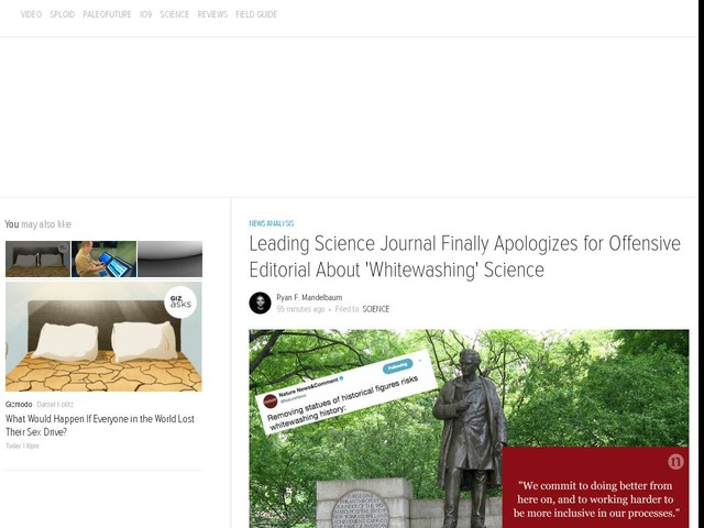 Leading Science Journal Finally Apologizes for Offensive Editorial About 'Whitewashing' Science