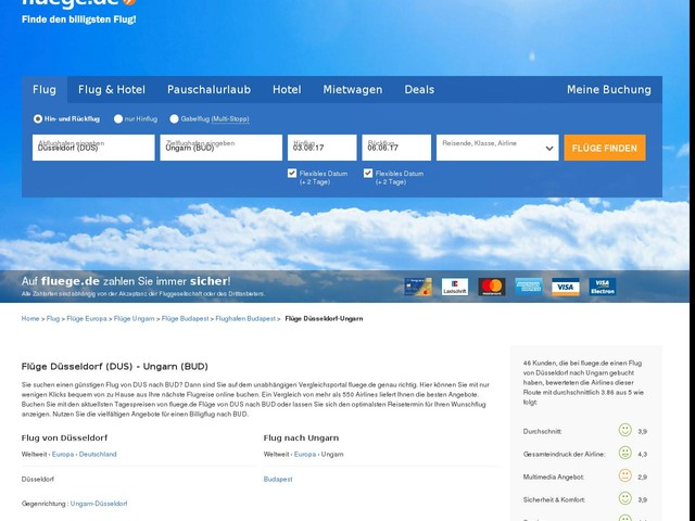 Flug Düsseldorf-Ungarn: Flüge von Düsseldorf (DUS) nach Ungarn (BUD) günstig online buchen | fluege.de