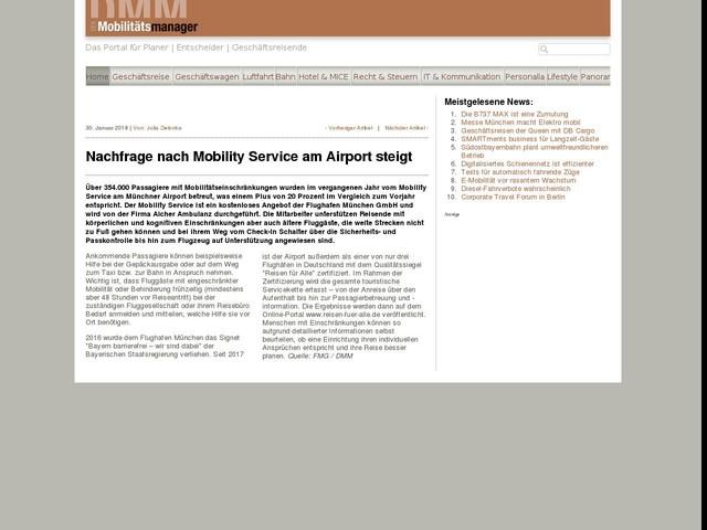 Nachfrage nach Mobility Service am Airport steigt