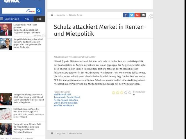 Schulz attackiert Merkel in Renten- und Mietpolitik