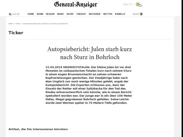 Autopsiebericht: Julen starb kurz nach Sturz in Bohrloch