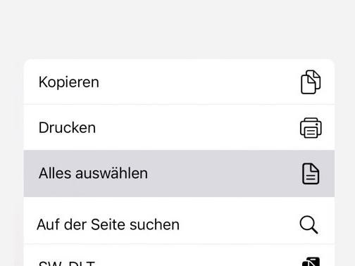 Safari auf dem iPhone: Kurzbefehl markiert gesamte Seite