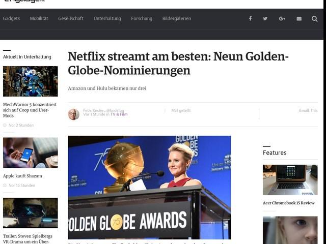 Netflix streamt am besten: Neun Golden-Globe-Nominierungen