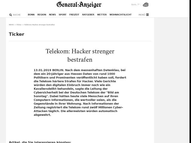 Telekom: Hacker strenger bestrafen