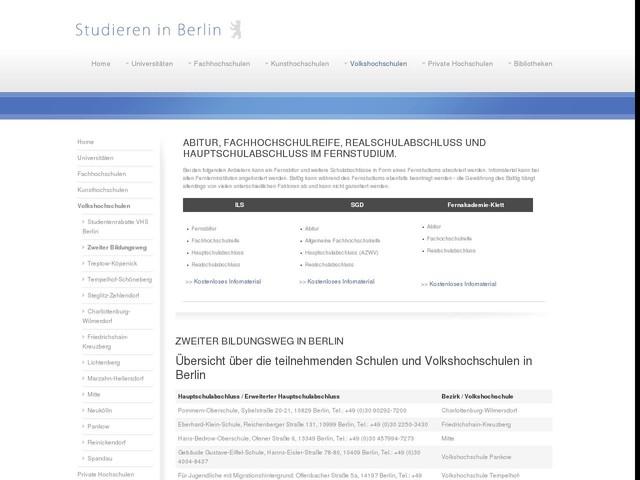 Berlin - Zweiter Bildungsweg - Abitur, Realschulabschluss und Hauptschulabschluss nachholen
