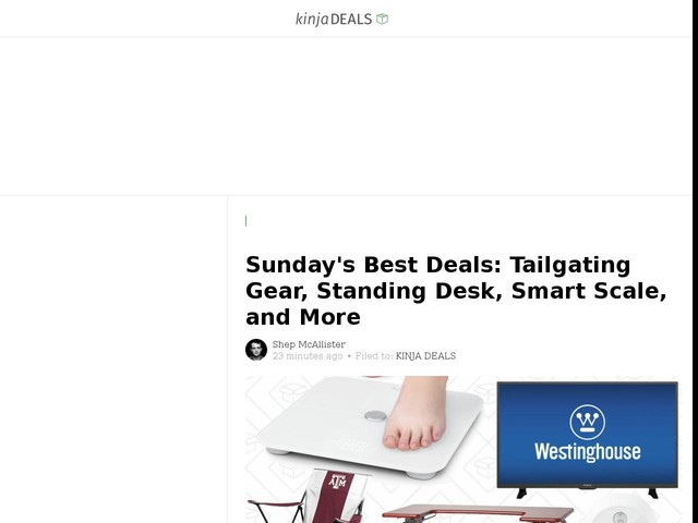 Sunday's Best Deals: Tailgating Gear, Standing Desk, Smart Scale, and More