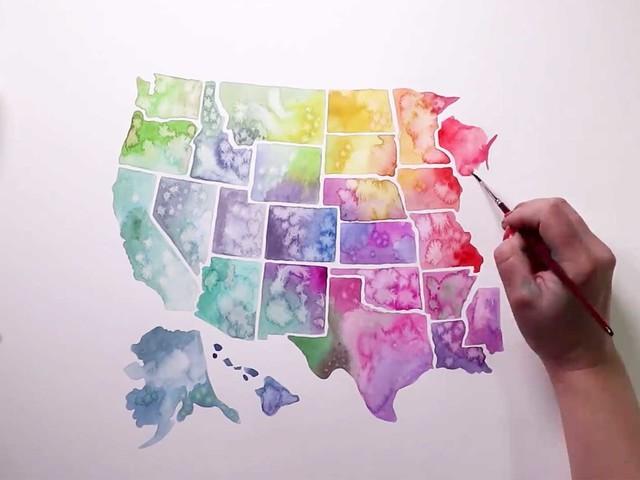 Speedpainting der USA in Wasserfarbe