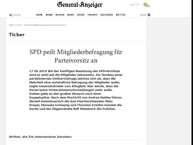 SPD peilt Mitgliederbefragung für Parteivorsitz an