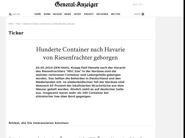 Hunderte Container nach Havarie von Riesenfrachter geborgen