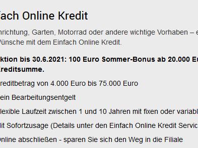 BAWAG P.S.K. Bank Österreich Einfach Online Kredit