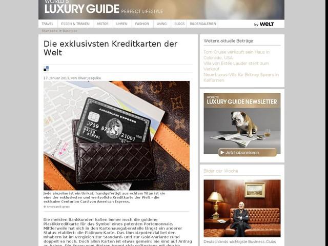 Die exklusivsten Kreditkarten der Welt   World's Luxury Guide