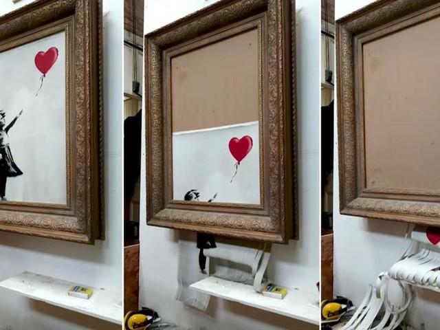 "Banksy ""Shredding the Girl and Balloon"" The Director's half cut"