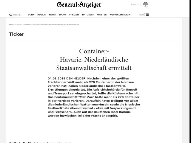 Container-Havarie:Niederländische Staatsanwaltschaft ermittelt
