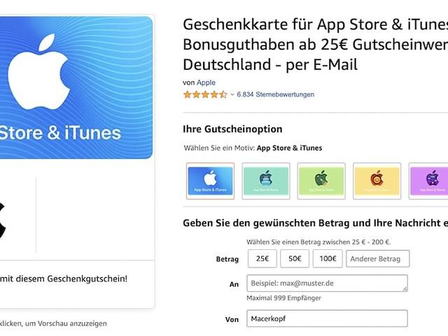 iTunes Karten: 15 Prozent Extra-Guthaben bei Amazon
