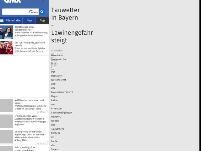 Tauwetter inBayern - Lawinengefahr steigt