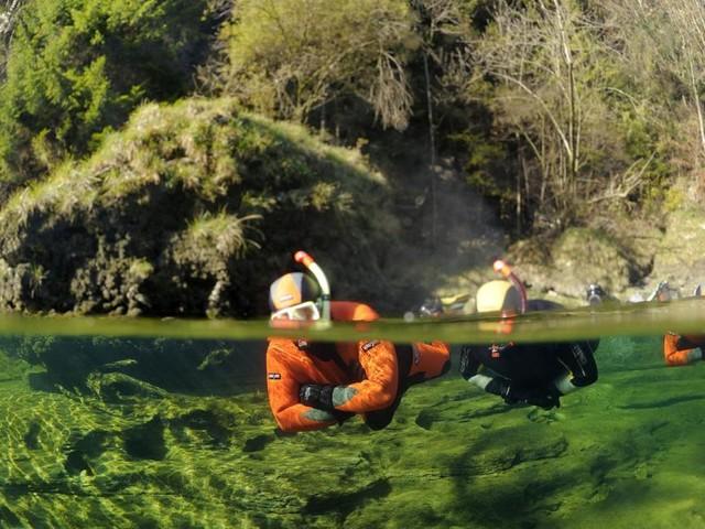 Beim Schnorcheln und Tauchen in der Traun ist alles im Fluss