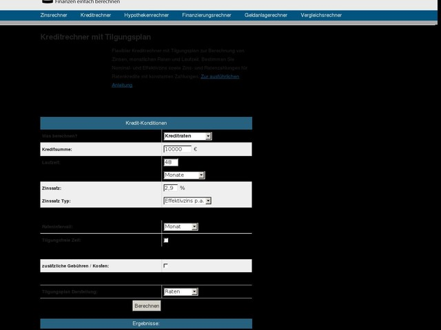 Kreditrechner - Kredit berechnen mit Tilgungsplan