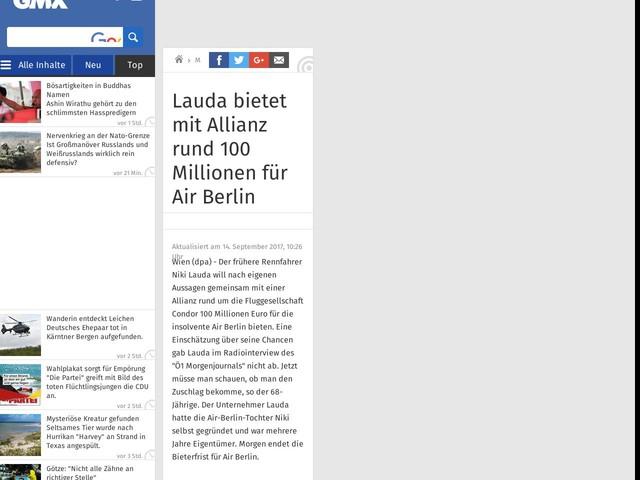 Lauda bietet mit Allianz rund 100 Millionen für Air Berlin