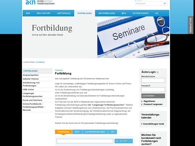 Fortbildung- Ärztekammer Niedersachsen » Ärztekammer Niedersachsen
