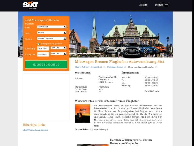 Mietwagen Bremen Flughafen g?nstig - Sixt Autovermietung