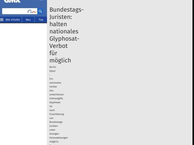 Bundestags-Juristen: halten nationales Glyphosat-Verbot für möglich