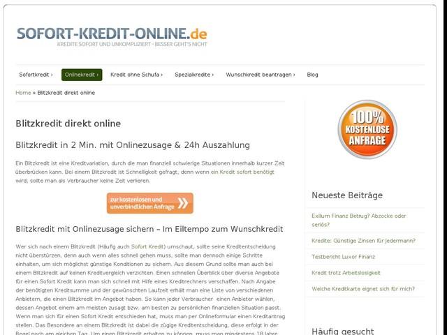 Blitzkredit in 2 Min. mit Onlinezusage & 24h Auszahlung