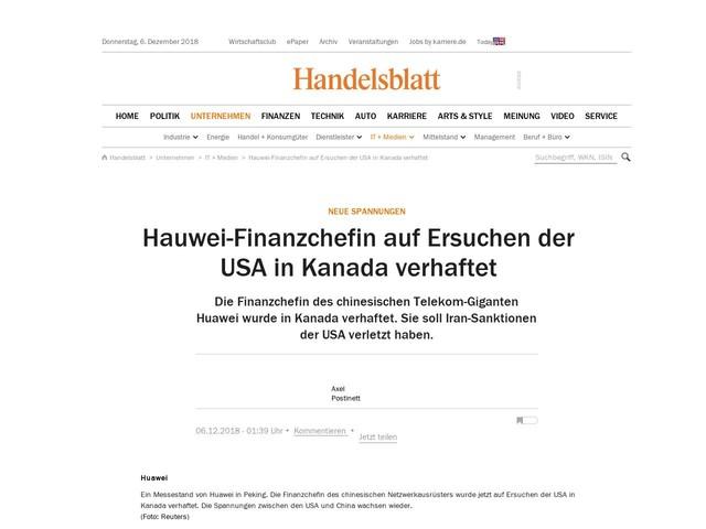 Neue Spannungen: Hauwei-Finanzchefin auf Ersuchen der USA in Kanada verhaftet
