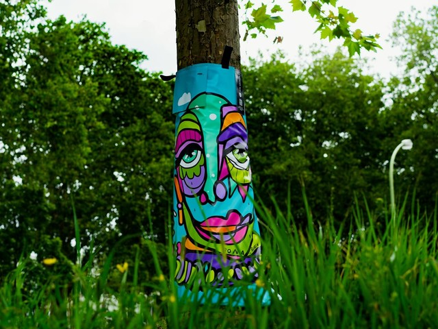 Street Art TreeBags sorgen für ausreichend Wasser für Stadtbäume im Sommer