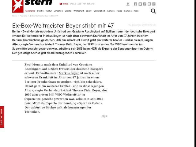 Ex-Box-Weltmeister Beyer stirbt mit 47