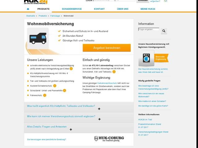 Wohnmobilversicherung bei der HUK24 | Wohnmobil günstig versichern!