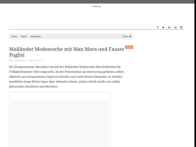 Mailänder Modewoche mit Max Mara und Fausto Puglisi