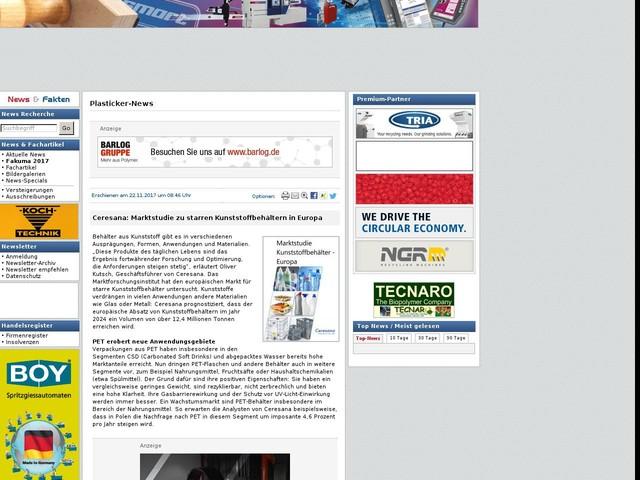 Ceresana: Marktstudie zu starren Kunststoffbehältern in Europa