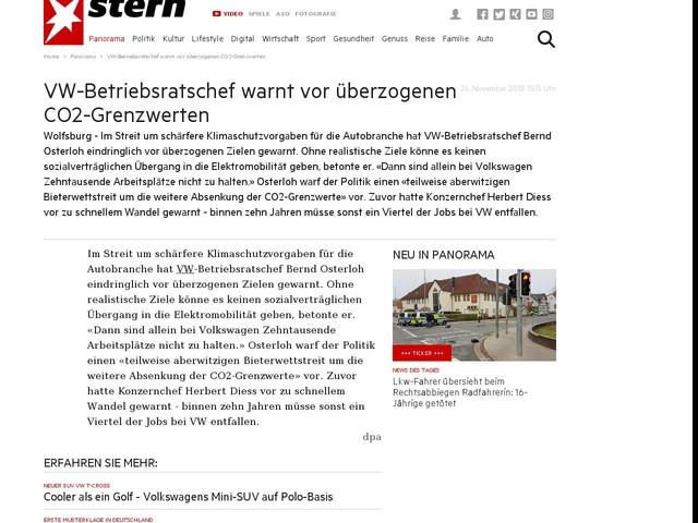 VW-Betriebsratschef warnt vor überzogenen CO2-Grenzwerten